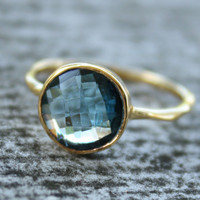 Gold Blue Topaz Ring  Round Cut  Stack Ring December by OhKuol
