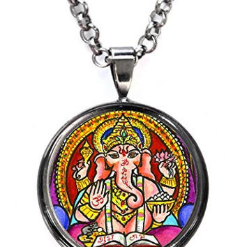 Lord Ganesh God Intellect Wisdom Gunmetal Pendant with Chain Necklace