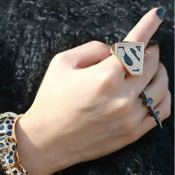 Jewelry New Arrival Gift Shiny Korean Stylish Accessory Superman Alphabet Ring [6586389767]
