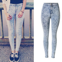 High Waist Skinny Straight Slim Flower Print Elastic Jeans