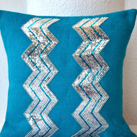Blue Burlap Silver Chevron Sequin Embellished Accent Toss Pillow Cover