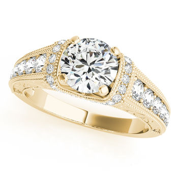 Engagement Ring -Graduated Checker Diamond Engagement Ring with Engraving in Yellow Gold-ES1637YG