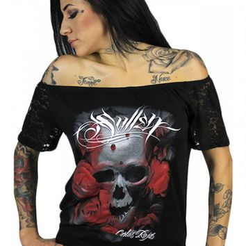 "SA ""Distortion Lace"" Sleeve Top by Sullen Clothing (Black)"