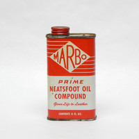 Vintage Marbo Advertising Tin Prime Neatsfoot Oil Compound Gives Life to Leather Red White