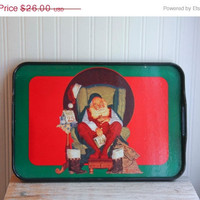 Vintage Santa Tray, Santa Claus Tray, Tray with Handle, Christmas Tray, Vintage Serving Tray, Red and Green, Santa Portrait, Xmas Decoratio
