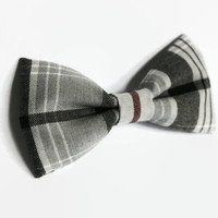Dog Bow Tie - Cat Collar Bow - Pet Accessories - Kitten, Puppy - Plaid, Tartan, Striped, White, Grey, Burgundy - Wedding