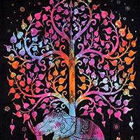 Multi-Coloured Elephant Under Tree Tapestries , Hippie Tapestries , Bohemian Boho Tapestry , Dorm Tapestry ,Wall Tapestries, Tapestry Wall Hanging- AndExports