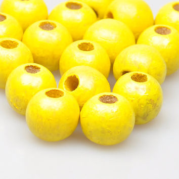 25 Pieces Yellow Colour Wood Beads, Wood Jewelry Findings, Jewelry Making Supply, Craft Supplies