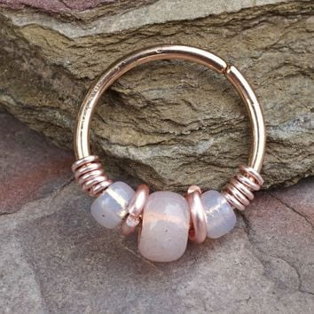 Helix Hoop Pink Beaded Rose Beaded 16g 18g or 20 Gauge Rose Gold Nose Hoop Ring Tragus Cartilage Hoop Earring