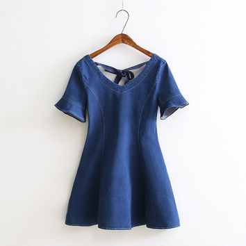 Summer Leaf Slim Umbrella Dress Denim Short Sleeve One Piece Dress [6332334596]