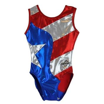 O3GL024 Obersee Girl's Girls Gymnastics Leotard - Flag