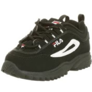 Fila Disruptor II Sneaker(Toddler),Black/White/Red,4 M US Toddler