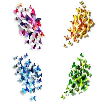 12Pcs/Set 3D Simulation Butterflies Wall Stickers Kids Room Art Decal Decoration For Door Window Refrigerator Sticker