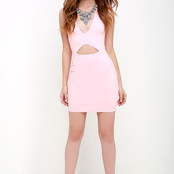 Cleared for Take-Off Light Pink Bodycon Dress