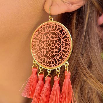 Turn Back Time Earrings: Coral/Gold