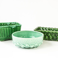Vintage Green Planter Collection / Mint / Teal /  Emerald / Ceramic Pottery / Mid Century Decor