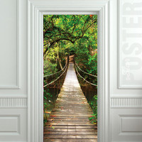 "GIANT Door STICKER rope bridge tropic forest decole film poster 31x79""(80x200cm)"