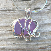 Sea Glass Pale Purple  Elephant Necklace Locket by Wave of Life