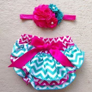 Hot Pink and Teal Chevron Ruffled Satin Bloomers - Baby Bloomers - Baby Shower Gift - Baby Girl Diaper Cover - Photo Prop -Smash Cake Outfit