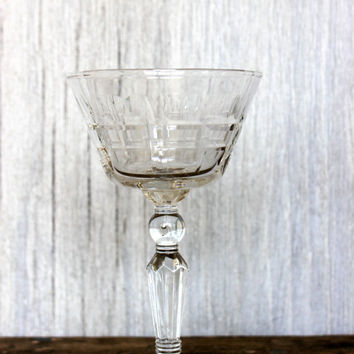 vintage crystal wine glasses // 'thumbprint' and cut glass pattern // antique stemware barware // set of 5