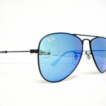 new Ray Ban Kids Sunglasses RJ 9506 S 201/55 Black/Blue Mirror 50mm