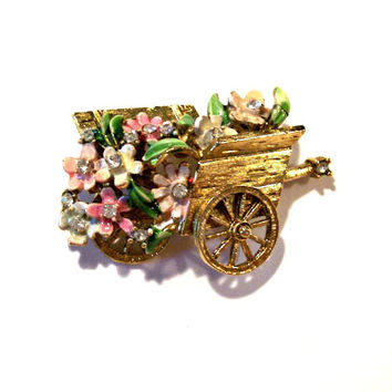 Vintage Collectible 1960's Brooch Pin, BSK My Fair Lady Flower Cart, BOOK PIECE, Eliza Doolittle, VisionsOfOlde