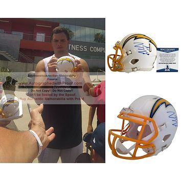 Hunter Henry Autographed Los Angeles Chargers Logo Riddell Mini Football Helmet, Proof Photo, Beckett S38126
