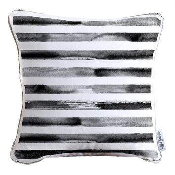 Hand Drawn Black Watercolor Stripes Decorative Throw Pillow w/ Silver & White Reversible Sequins | COVER ONLY (Inserts Sold Separately)