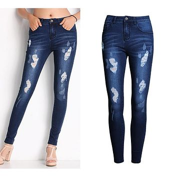 2053 New 2017 Hot Fashion Ladies Cotton Denim Pants Stretch Womens Bleach Ripped Skinny Jeans Denim Jeans For Female