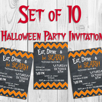 Set of 10 Halloween Invitations Printed Halloween Party Invitation 5x7 Personalized Invite Costume Party Invite Choose style Halloween