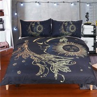 Gold Moon Sun Duvet Set