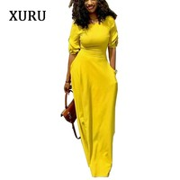 XURU 2019 Autumn Pencil Dress Black Yellow Red Half Sleeve Slim Waits Pockets Long Dresses Elegant Lady Casual Party Dress