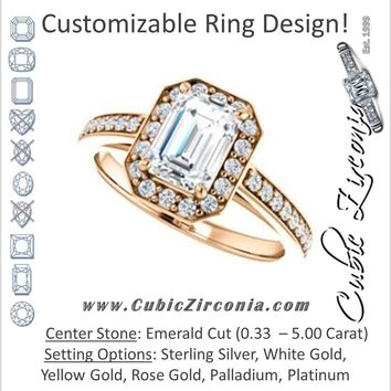 Cubic Zirconia Engagement Ring- The Farrah Michelle (Customizable Emerald Cut with Halo & Sculptural Trellis)