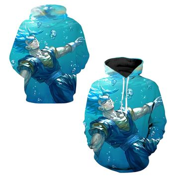 Vegito Super Saiyan Blue Cosplay Sweatshirts Skateboarding Hoodies Male Dragon Ball Z Training Hooded Tops Exercise Hoody M-3XL