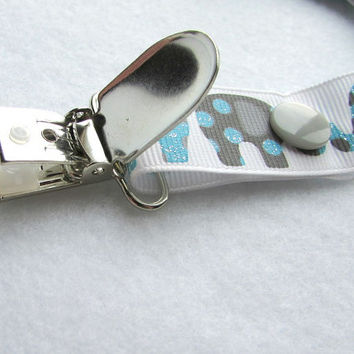 Pacifier Clip, Grosgrain Ribbon Binky Clip, Soothie Clip, Adjustable Charcoal Grey Elephants, dots