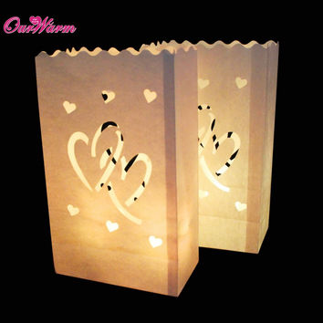 10Pcs Sunshine Tea light Holder Luminaria Paper Lantern Candle Bag For Christmas Party Wedding Decoration