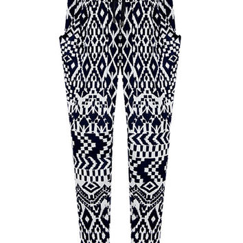 Black and White Tribal Pattern Harem Pants