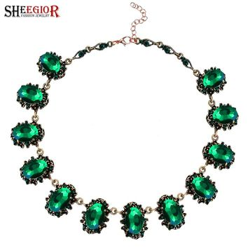SHEEGIOR NEW Boho Choker Necklace Women Bts Accessories Love Vintage Bronze Chain Green Crystal Necklaces Fashion Indian Jewelry