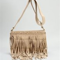 Tan Studded Fringe Shoulder Bag