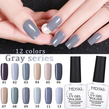 MDSKL 12 Colors  Fashion Gray Series NailGel Polish Long Lasting UV Gel Nail Polish  Nail Gel Lacquer Nails Polish 10ML