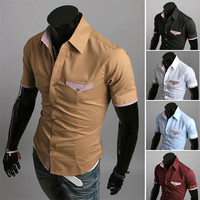 Short Sleeve Slim Fit Men Fashion Shirt