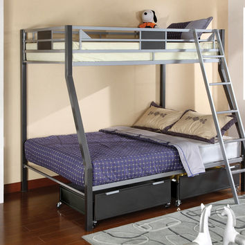 Furniture of america CM-BK1012 Cletis ii twin over full two toned silver and gun metal finish bunk bed with moveable ladder.