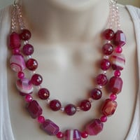 Raspberry Pink Agate Statement Necklace, Bold Hot Pink Wedding Jewelry, Bridal Statement Necklace, Multi-Strand Dark Pink Agate Necklace,
