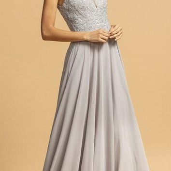 A-Line Sleeveless Long Formal Dress with Appliques Silver