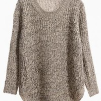 Beige Curved Hem Knit Sweater