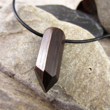 Wood Crystal Shaped Necklace, Anicent Bog Wood Pendant, Carved Bog Oak Crystal Necklace Pendant, Crystal Amulet European Charm