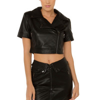 Ride Along Faux Leather Jacket - Black