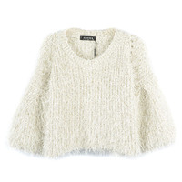 Beige Puff Sleeve Gold Line Sweater