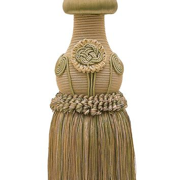 "Decorative Beige, Olive Green, Champagne Curtain & Drapery Tassel Tieback /12"" tassel, 32"" Spread (embrace), 7/16"" Cord, Baroque Collection Style# TBBL-1 Color: WINTER MEADOW 6939"