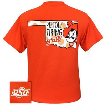Oklahoma State University OSU Pistols Firing Y'all T-Shirt